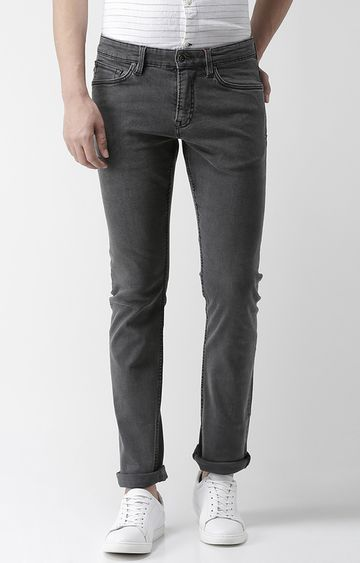 celio | Grey Solid Straight Fit Jeans