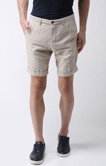 celio   Beige Solid Shorts