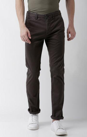 celio | Grey Solid Slim Fit Chinos