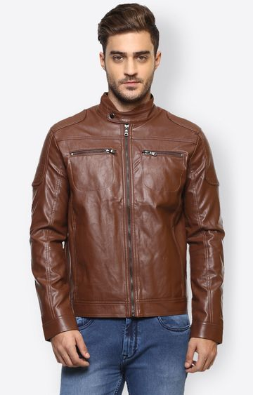 celio | Brown Solid Leather Jacket