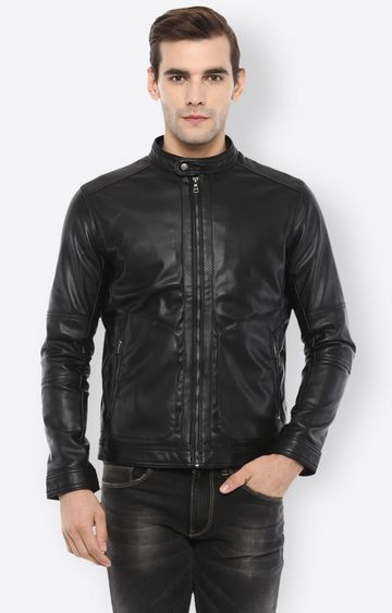 celio | Black Solid Leather Jacket