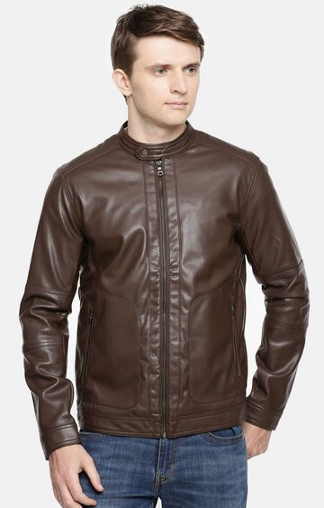 celio | Brown Solid Straight Fit Bomber Jacket