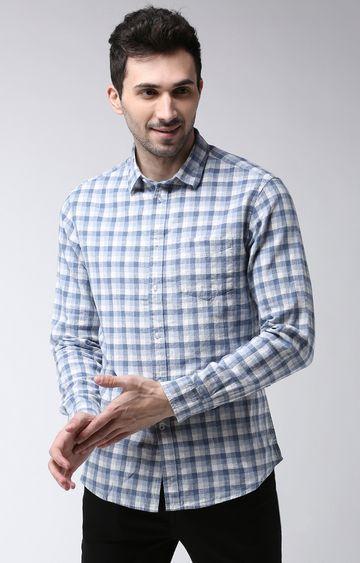 celio | Blue Checked Regular Fit Casual Shirt