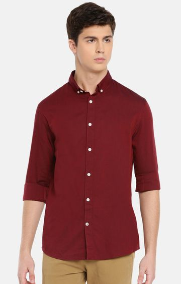 celio | Maroon Solid Casual Shirt
