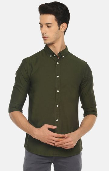 celio | Olive Solid Casual Shirt