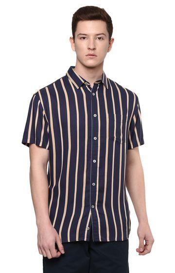 celio | Navy Striped Casual Shirt