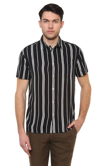 celio | Black Striped Casual Shirt