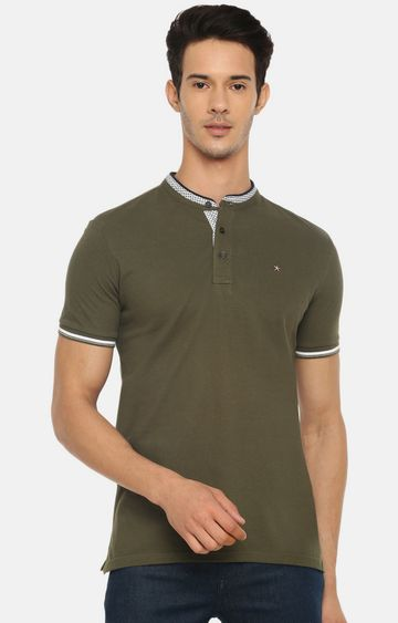 celio | Khaki Solid Polo T-Shirt