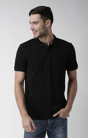 celio | Black Solid Straight Fit T-Shirt