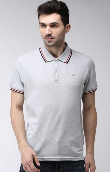 celio | Grey Melange Regular Fit Polo T-Shirt