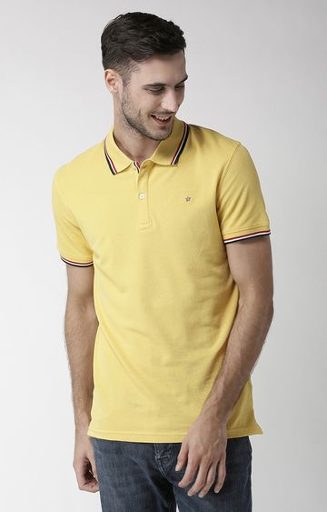 celio | Yellow Solid Regular Fit Polo T-Shirt