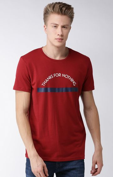 celio | Maroon Printed Straight Fit T-Shirt