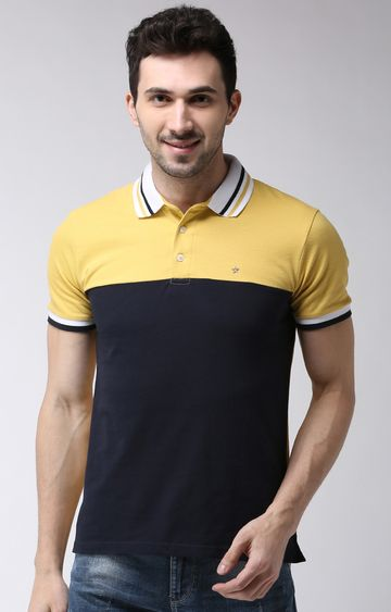 celio | Yellow and Navy Colourblock Regular Fit Polo T-Shirt