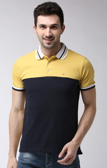 celio | Yellow Colourblock Regular Fit Polo T-Shirt