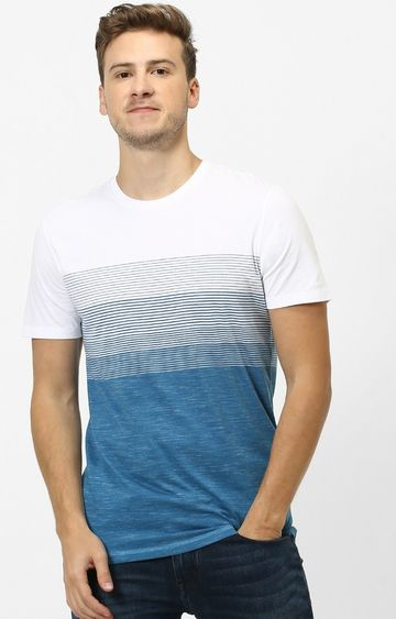 celio | Blue Striped Straight Fit T-Shirt