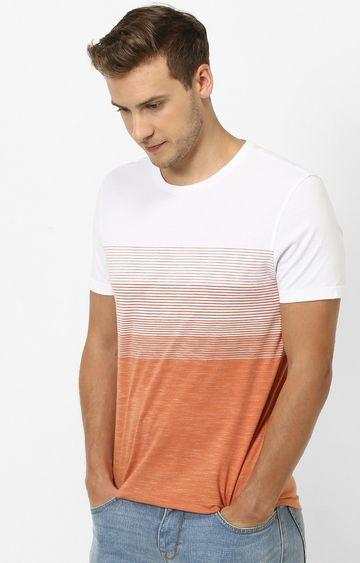 celio | Orange Striped Straight Fit T-Shirt