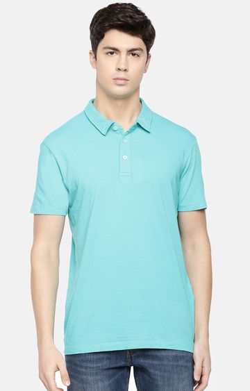 celio | Blue Solid Polo T-Shirt