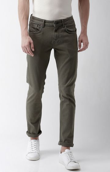 celio | Olive Solid Slim Fit Jeans