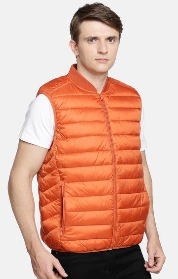 celio   Orange Solid Straight Fit Gilet