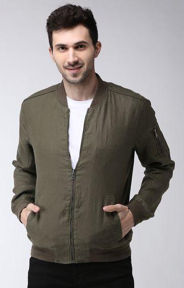 celio | Khaki Solid Regular Fit Bomber Jacket