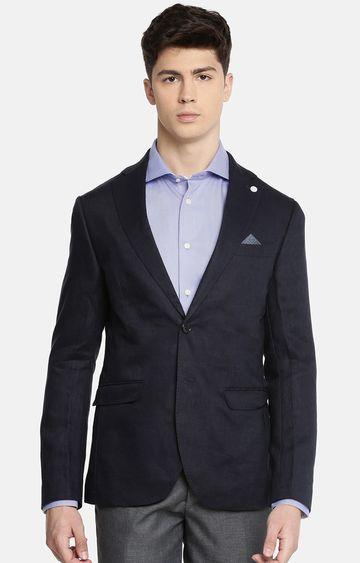 celio   Blue Solid Slim Fit Blazer