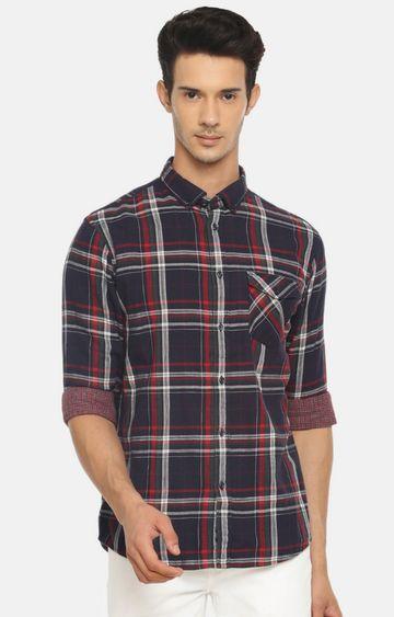 celio | Navy Checked Casual Shirt