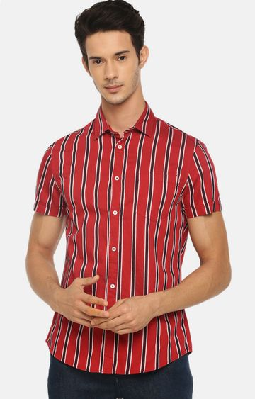 celio | Red Striped Casual Shirt