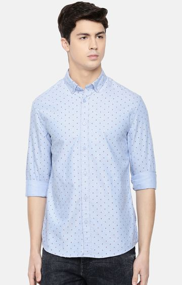 celio | Blue Printed Slim Fit Casual Shirt