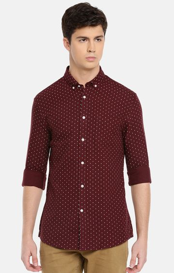 celio | Wine Printed Casual Shirt