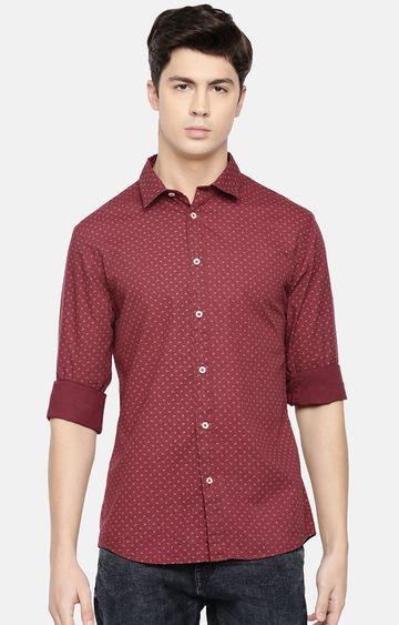 celio | Burgundy Printed Slim Fit Casual Shirt