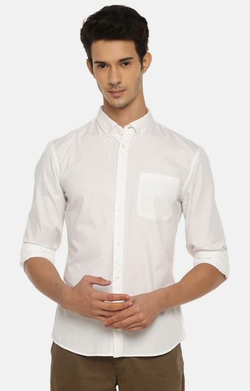 celio | White Solid Casual Shirt