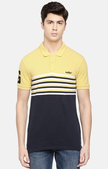 celio | Yellow and Navy Striped Polo T-Shirt