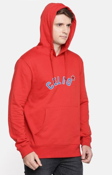 celio | Red Solid Straight Fit Hoodie