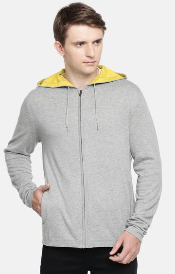 celio | Grey Melange Straight Fit Hoodie