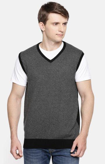 celio   Black Melange Straight Fit Sweater