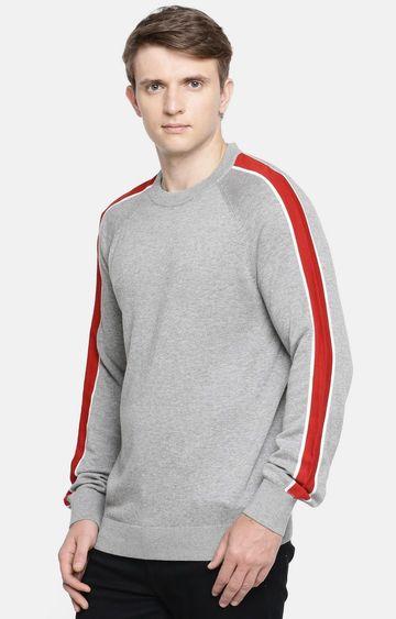 celio   Grey Melange Straight Fit Sweater