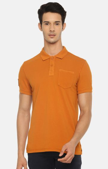 celio | Mustard Solid Polo T-Shirt