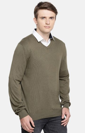 celio   Olive Solid Straight Fit Sweater