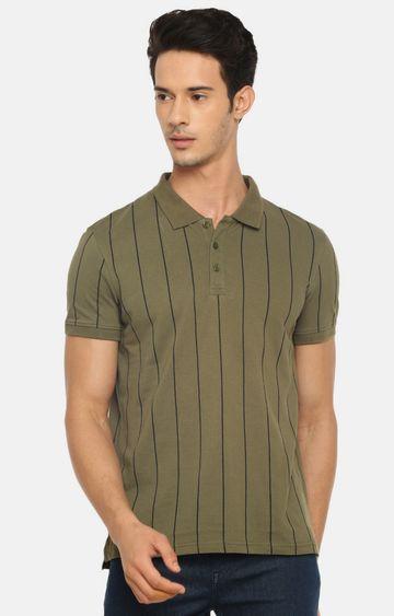 celio | Olive Striped Polo T-Shirt