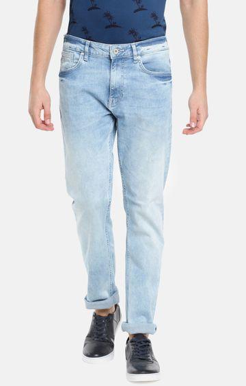 celio | Light Blue Solid Straight Fit Jeans