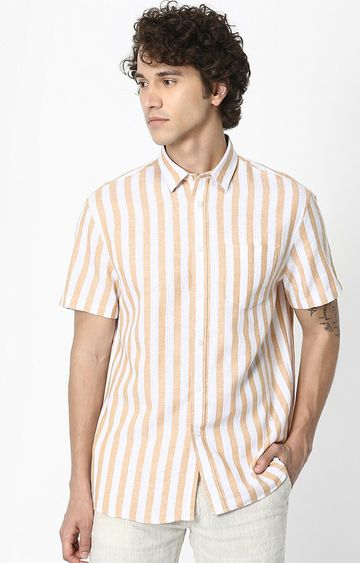 celio | Yellow Striped Regular Fit Casual Shirt