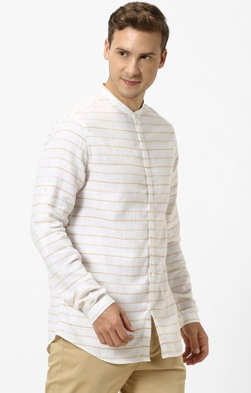 celio | Brown Striped Regular Fit Casual Shirt
