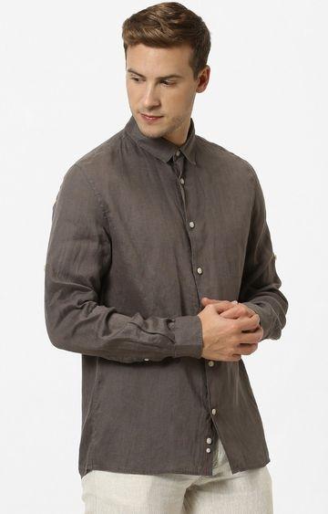 celio | Dark Khaki Solid Regular Fit Casual Shirt