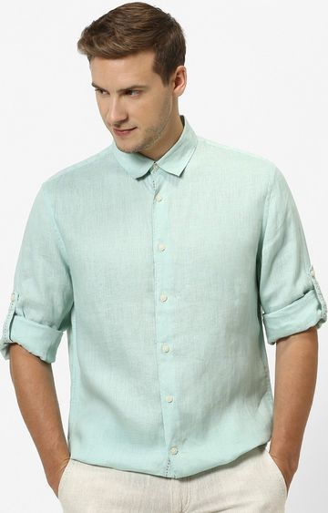 celio   Mint Green Solid Regular Fit Casual Shirt