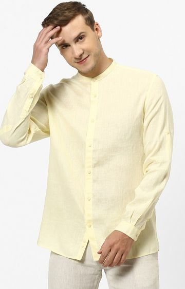 celio | Yellow Solid Regular Fit Casual Shirt