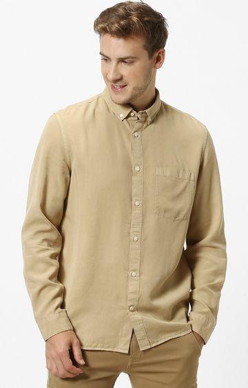 celio | Beige Solid Casual Shirt