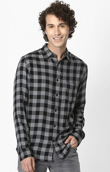 celio | Black Checked Soft Touch Regular Fit Casual Shirt
