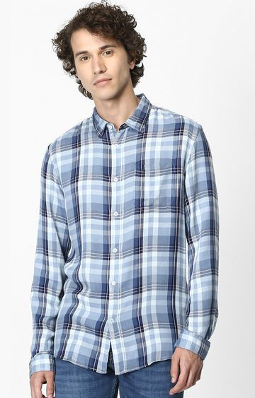 celio | Blue Checked Soft Touch Regular Fit Casual Shirt
