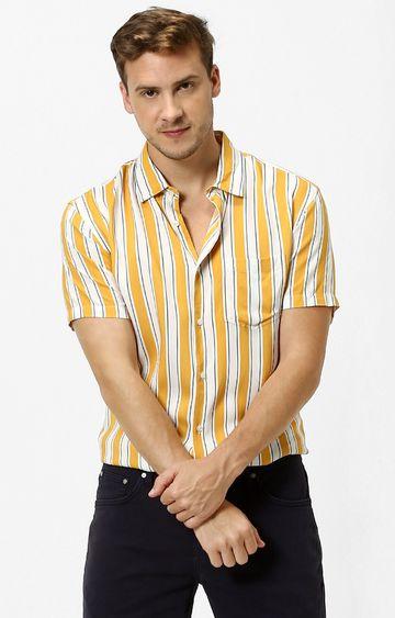 celio | Mustard Striped Casual Shirt