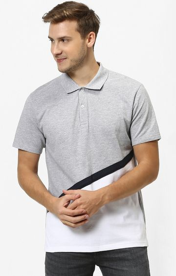 celio | Grey Colourblock Polo T-Shirt